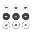 set 3 simple design graduation cap icons vector image