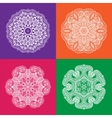 Set of White Mandala on the Color Backgrounds vector image