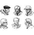 sketches faces various seniors men vector image