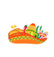 sombrero with maracas and traditional mexican vector image vector image