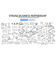 strong business partnership concept wig doodle vector image
