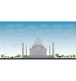 Taj Mahal with Tree and cow vector image vector image