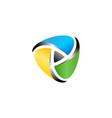 triangle abstract digital media logo symbol icon vector image
