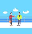 two businessmen having outdoor meeting couple vector image vector image