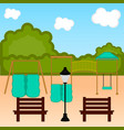 view of a playground with slides vector image