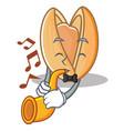 with trumpet pistachio nut mascot cartoon vector image vector image