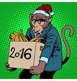 Monkey Santa Claus symbol new year 2016 vector image