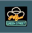 night show green street retro signboard vintage vector image