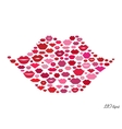 Lips shape made with kisses vector image