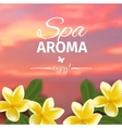 Spa concept with blurred seaside background and vector image