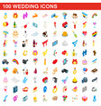 100 wedding icons set isometric 3d style vector image