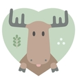 Animal set Portrait of a moose in love Flat vector image