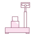 balance scale warehouse with box vector image