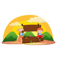 Banner and children vector image