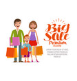 big sale banner happy family with shopping bags vector image vector image