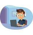 cartoon boy wearing headphones using laptop vector image