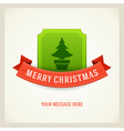 Christmas green tree and ribbon background vector image
