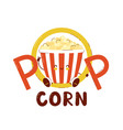 cute happy popcorn bucket logo vector image vector image
