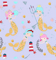 cute pink and blue mermaid cartoon seamless vector image