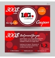 Discount coupon template red background vector image vector image