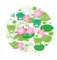 flower and frog background vector image vector image