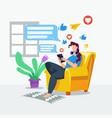 girl browsing social media in home vector image vector image