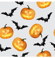 Halloween seamless pattern with pumpkin and bat vector image vector image