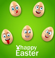 happy easter card with crazy eggs positive vector image vector image