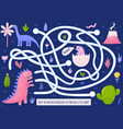 help mother dinosaur to find her baby funny maze vector image