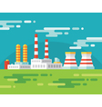 Industrial factory building - flat vector image