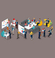 isometric businessman development of startup vector image