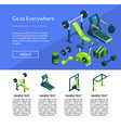 isometric gym page template vector image