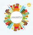 jakarta skyline with color buildings blue sky and vector image vector image