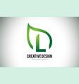 l leaf logo letter design with green leaf outline vector image vector image