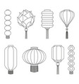 line art black and white chinese lantern set vector image vector image