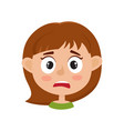 little girl scared face expression cartoon vector image