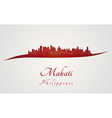 Makati skyline in red vector image vector image