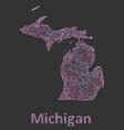Michigan line art map vector image vector image