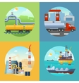 Oil Industry Banners Composition vector image vector image