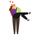 overweight couple in love vector image vector image