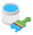 Paint and paint brush isometric 3d icon vector image