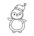penguin with hat celebration merry christmas thick vector image vector image