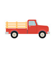 pickup truck red retro farm truck isolated vector image
