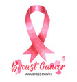 pink ribbon symbol drawing for breast cancer vector image
