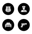 police glyph icons set vector image