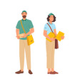 post office workers postmen man woman in uniform vector image vector image