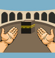 praying hands on kaaba vector image vector image