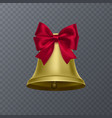 realistic bell with red bow on transparent vector image vector image
