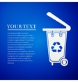 Recycling bins flat icon on blue background vector image vector image