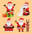 santa clauses set icons snow chimney deer vector image vector image